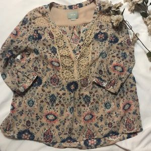 Anthropologie MAEVE Viola 3/4 Sleeve Top Sz 2P